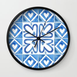 Handpainted watercolor tiles. Decorative abstract design. Wall Clock