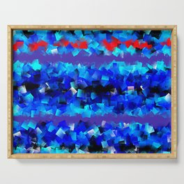Blue lights and red birds Serving Tray