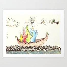 Sailing Cats Art Print