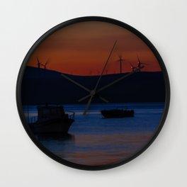 Sunset on the turkish aegean sea Wall Clock