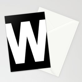 Letter W (White & Black) Stationery Cards