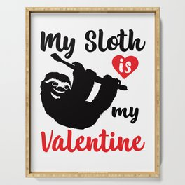 My Sloth Is My Valentine Funny and Cute Heart Design Serving Tray