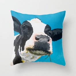 Margot the Relaxed Cow Throw Pillow