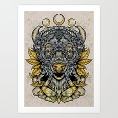 Buffalo Attack Art Print