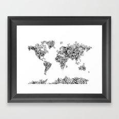 floral world map black and white Framed Art Print