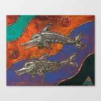 dolphins Canvas Prints featuring Dolphins by Sherdeb Akadan