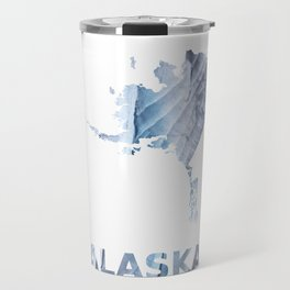 Alaska map outline Light steel blue clouded wash drawing Travel Mug