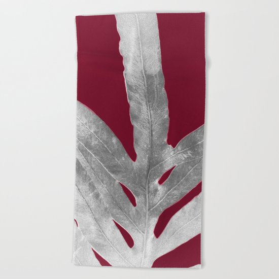 Green Fern on Burgundy Wine Beach Towel