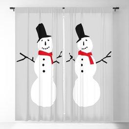 Christmas Snowman-Gray Blackout Curtain