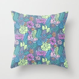 Flowering Succulents Throw Pillow