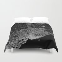 toronto Duvet Covers featuring toronto map by Line Line Lines