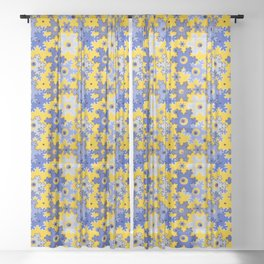 Pixel, Christmas pattern, snowflakes, yellow and blue, Christmas 3 Sheer Curtain