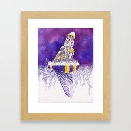 Ultraviolet Bumblebee / Mushroom Watercolor Painting Framed Art Print