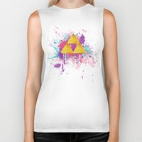 triforce Biker Tanks featuring Splash Triforce by Brittany