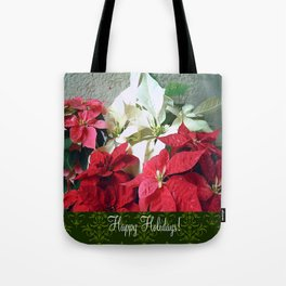 Mixed color Poinsettias 3 Happy Holidays S6F1 Tote Bag