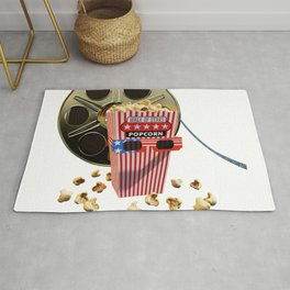 3D Movie Reel and Buttered Popcorn Rug