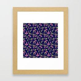 Watercolour Fuchsia Flower Pattern - Navy Framed Art Print
