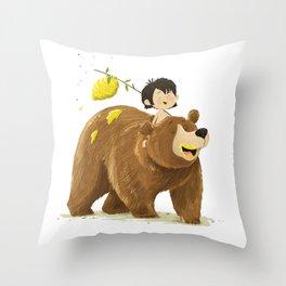 Baloo and Mowgli Throw Pillow