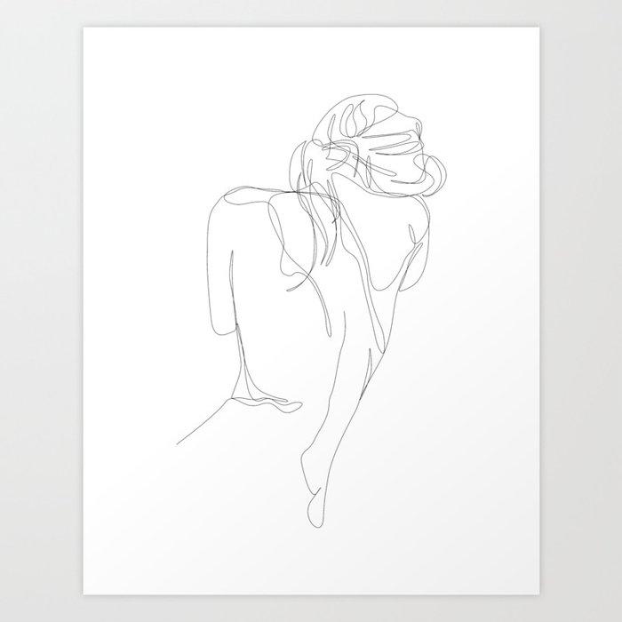 concealment - one line nude art Kunstdrucke