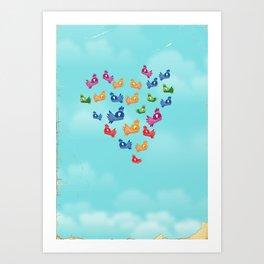 Vintage Love birds Art Print