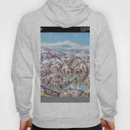 Heinrich Berann - Panoramic Painting of the North Cascades with labels (1987) Hoody