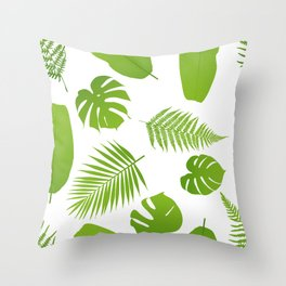 Tropical seamless pattern with palm and fern Throw Pillow