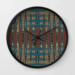 South Western Color Palette Mosaic Pattern Wall Clock