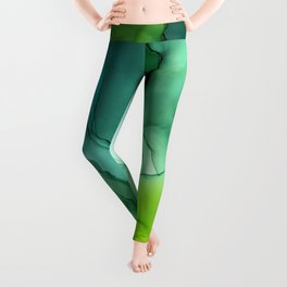 Spring Greens Abstract Landscape Leggings