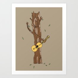 guitar playing tree-- illustration print Art Print