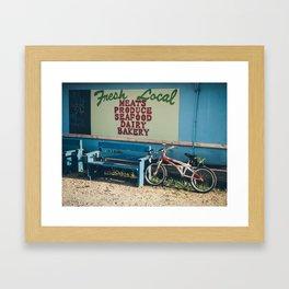 Bike At Farmers Market Framed Art Print