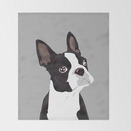 Boston Terrier Portrait - Grey Throw Blanket
