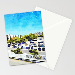 Pescara: view from the train station of the parking lot and skyline of the city Stationery Cards