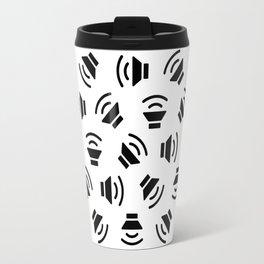 Music On (black on white version) Travel Mug