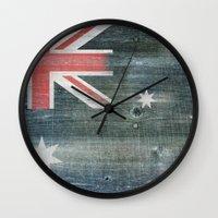 australia Wall Clocks featuring Australia by Arken25