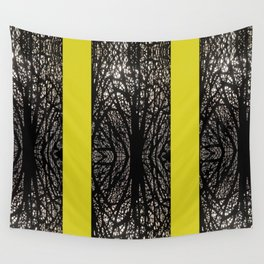 Gothic tree striped pattern mustard yellow Wall Tapestry