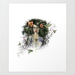 Hummingbird Hair Art Print
