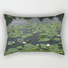 Flower. White Water-lily (Nymphaea alba) growing on a lake. Norfolk, UK.  Rectangular Pillow