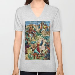 """African American Classical Masterpiece """"Justice Under the Law"""" by Hale Woodruff Unisex V-Neck"""