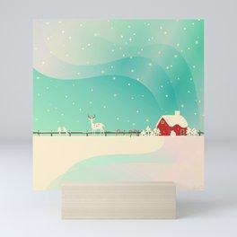 Peaceful Snowy Christmas (Teal) Mini Art Print