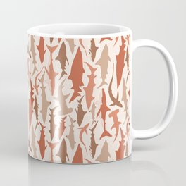 Swimming with Sharks in Coral and Brown Coffee Mug
