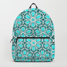 Symmetrical Flower Pattern in Turquoise Backpack