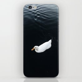 A white duck in dark water iPhone Skin
