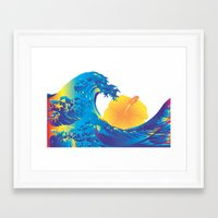 hokusai Framed Art Prints featuring Hokusai Rainbow & Hibiscus_Y  by FACTORIE