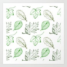 Leaves (greens) Art Print