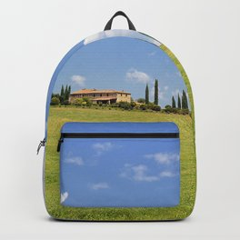 Cypress trees and meadow with typical tuscan house Backpack