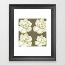 Gray,White Rose background Framed Art Print