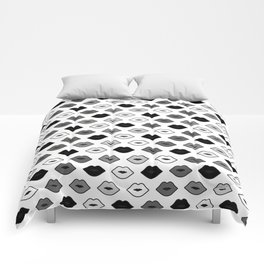 Chessboard Lips - Black and White Comforters