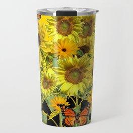 ORANGE MONARCH BUTTERFLIES IN SUNFLOWER FIELD Travel Mug