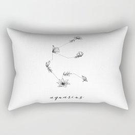 Aquarius Floral Constellation Rectangular Pillow