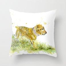Dog Strolling Throw Pillow